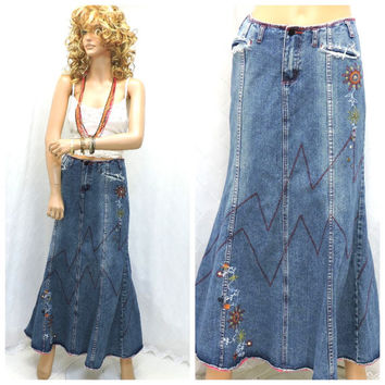 Vintage 80s boho hippie denim maxi skirt size 8 / 10 long jean festival skirt embroidered denim maxi skirt SunnyBohoVintage