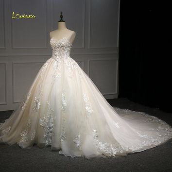 Loverxu Vestido De Noiva Sweetheart Ball Gown Wedding Dresses 2018 Illusion Appliques Beaded Flowers Tulle Bridal Gown Plus Size