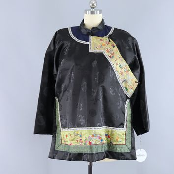 Vintage Embroidered Chinese Court Jacket / Black Satin Brocade Embroidery