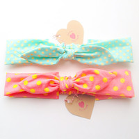 Pretty Cute Bunny bow Bandana style Bow Headband pop Happy Bright dot :) Spring Summer collection by Love Factory