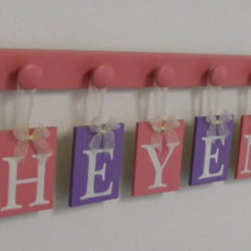 PInk and Purple Baby Girl Nursery Decor, Wall Letters Customized for CHEYENNE with a FLOWER and 9 Wooden Pegs Pink