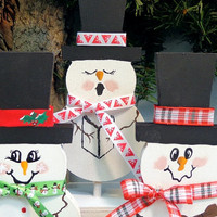Snowmen, hand painted, dye cuts, holiday home decor, winter home decor, gift for exchange, snowman collectors, Christmas decor