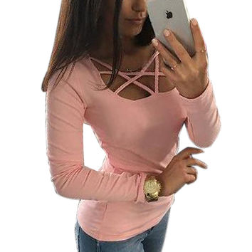 Women T shirt Fashion Casual Long Sleeve Hollow Out Spaghetti Strap Slim Long Sleeve Tops Tees Bandage T Shirts Top Femme GV399