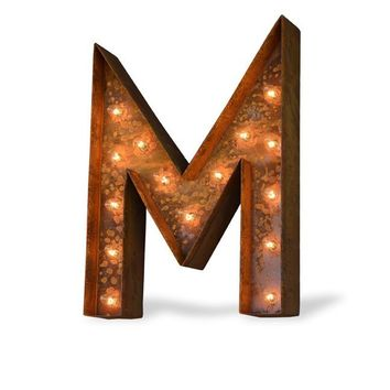 "36"" Letter M Lighted Vintage Marquee Letters (Modern Font/Rustic)"
