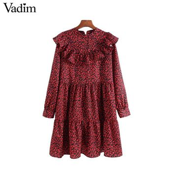 Vadim women vintage leopard dress sweet ruffles long sleeve o neck pleated female casual straight dress vestidos QA456
