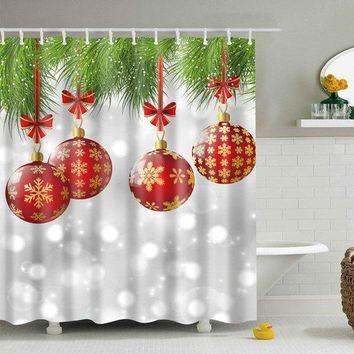 Christmas Decor Fabric Waterproof Shower Curtain