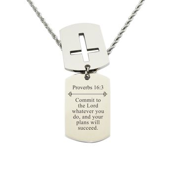 Mens Scripture Double Tag Necklace - Proverbs 16:3
