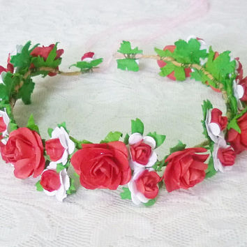 Red rose flower headband /flower headpiece /Flower hair wreath /Colorful floral headpiece/ Hair accessories