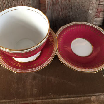 Vintage Copelands China Spode Maroon Ryde sugar bowl and 2 saucers, vintage Spode china, vintage England gold bone china, Copeland china