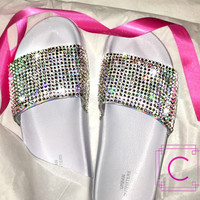 Womens Slides with hand placed Swarovski crystals