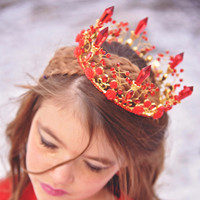 Rose & Crystal Royal Tiara Red Crown