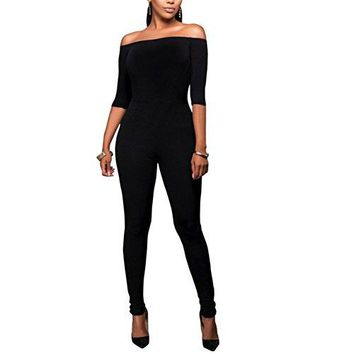 Metup Women Sexy Off Shoulder 3/4 Sleeves One Piece Party Club Bodycon Jumpsuit Romper