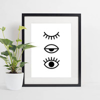 Eyes Poster, Scandinavian Art, Fashion poster, Minimal Wall Decor, Lashes, Minimalist Decor, Large Size, Black and white, Instant download