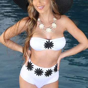 White Daisy Patch 2 Pc. Sexy High Waist Swimsuit