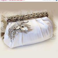 Bridal clutch, Victorian evening bag, White clutch, wedding clutch, Vintage inspired clutch, Bridal evening bag