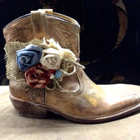 Shoe Accessories Boot Bands with Hand Made Fabric Rose Flowers Vintage Buttons, Lace and Burlap Boot Bling Boot Bracelet, Wrap Bracelet
