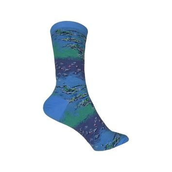 Monet Waterlillies Crew Socks in Blueshell