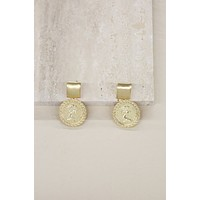Mini Ancient Coin Earrings in Gold