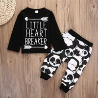 2pcs suit !! Infant Baby Newborn Boy Little Girl long sleeve letter printed T-shirt +long Pants Outfit Set