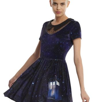 Licensed cool BBC DR Doctor Who Tardis Velvet Skater Dress Keyhole Neck Peter Pan Collar JRS.