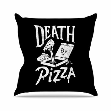 "Tatak Waskitho ""Death By Pizza"" Food Black Outdoor Throw Pillow"