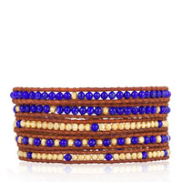 Lapis and Indian Trade Bead Mix Wrap Bracelet