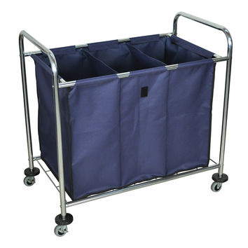 Luxor Rolling Heavy Duty Industrial Laundry Sorter Cart With Triple Dividers 2 Pack