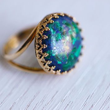 Azurite ring. Blue and green ring. 24K gold plated ring with gemstone azurite