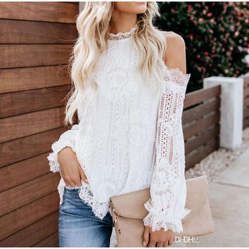 Sexy Cold Shoulder Lace Crochet Shirt Women Party Solid Black White Lantern Sleeve Shirts Ladies Tops Summer Casual Blouse Woman