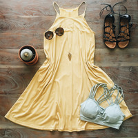 A Mustard Shift Dress