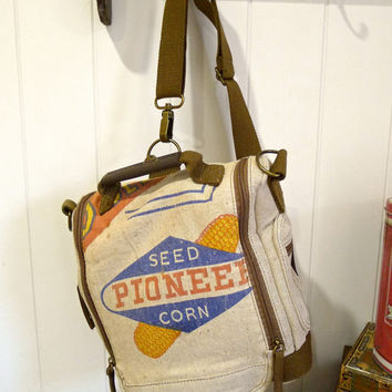 Pioneer Seed Corn - Iowa - Vintage Seed Sack Convertible Backpack Shoulder Bag - Canvas & Leather Bag... Selina Vaughan