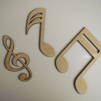 Music Notes, 12 Pieces, Wood Christmas Ornaments, Laser Cut, Ready to Paint Woodcraft, Music Wood Ornaments, Christmas Decor