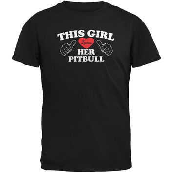 Valentines This Girl Loves Her Pitbull Black Adult T-Shirt