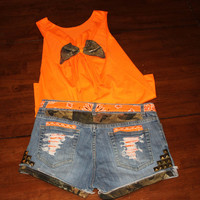 SHORTS Camo and Orange Studded Cutoff Denim Shorts. Camouflage Hunting