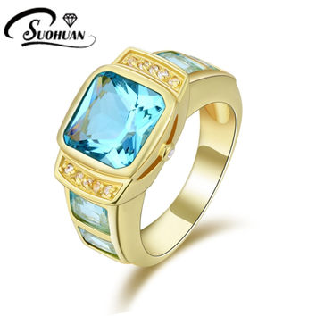 Fashion man jewelry Blue Aquamarine Sapphire rings Cz 18K yellow  Gold Filled Anniversary Ring for men Gift Size8,9,10,11R058