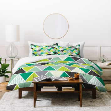 Heather Dutton Emerald Triangulum Duvet Cover