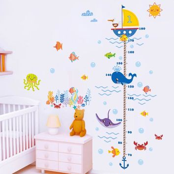 Underwater ocean fish finding nemo carton anchor height measure growth chart wall sticker kids baby nursery bedroom decor decal