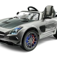 2017 Mercedes SLS AMG 12V Power Ride on Toy with UV Lights, Leather Seat, Built in LCD TV