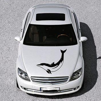 ANIMAL DOLPHIN CUTE FISH DESIGN HOOD CAR VINYL STICKER DECALS ART MURAL SV1578