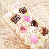 Clear iPhone 4/4S Case - Decoden Hard Phone Case - Chocolate Sweets Cabochon - Doughnuts, Gingerbreadman, Cake, Skull, Candy - Whipped Cream