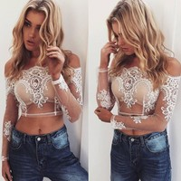 Lace Embroidery Shirt Top Tee
