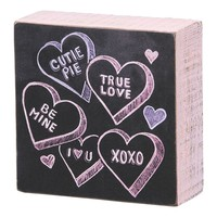 Candy Hearts Wooden Box Sign Art