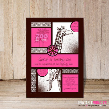 Zoo birthday invitation and thank you card Pink digital printables Personalized custom safari themed party cards elephant giraffe party