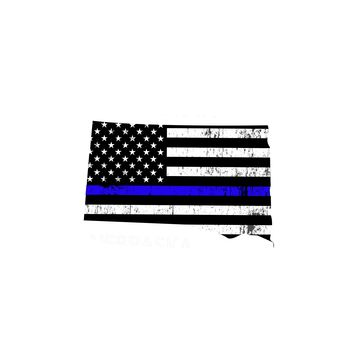 South Dakota Island Distressed Subdued US Flag Thin Blue Line/Thin Red Line/Thin Green Line Sticker. Support Police/Firefighters/Military