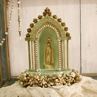 Vintage Our lady of Fatima statue Musical shrine
