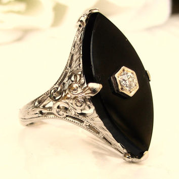 Art Deco Diamond & Onyx Ring Alternative Antique Engagement Ring 14K White Gold Filigree Antique Diamond Wedding Ring!