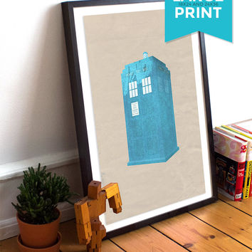 Doctor Who TARDIS Poster Time Lord Police Box Illustration Whovian Print Sci Fi Giclee Large Poster on Satin or Cotton Canvas Geekery