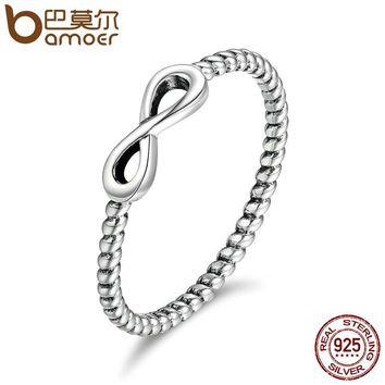 100% 925 Sterling Silver Trendy Infinity Elegant Finger Rings for Women Wedding Engagement Jewelry Gift SCR094