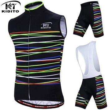KIDITOKT Sleeveless Quick-Dry Cycling Jersey Set MTB Bicycle Cycling Clothing Suit Racing Bike Clothes Vests Sportswear