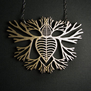 Branching Heart Necklace - Solid Stainless Steel - Growing Heart  - skeletal imagery